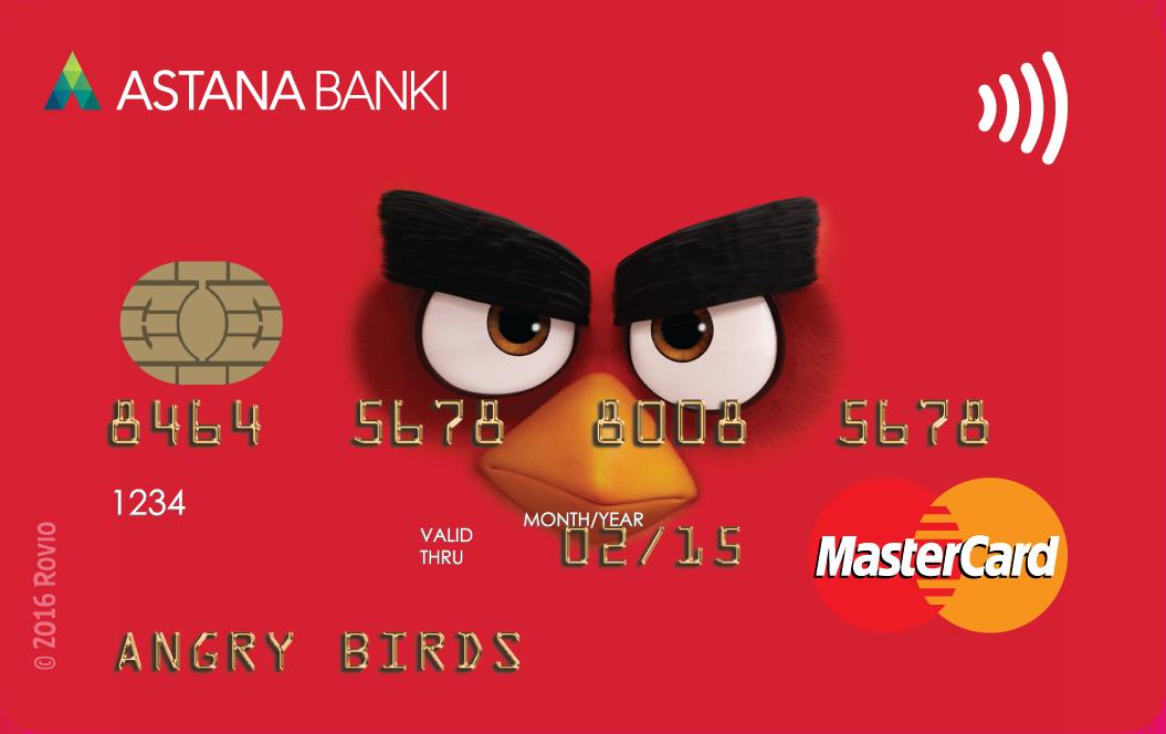 Банк Астаны — Карта «Angry Birds Red» MasterCard Standard доллары
